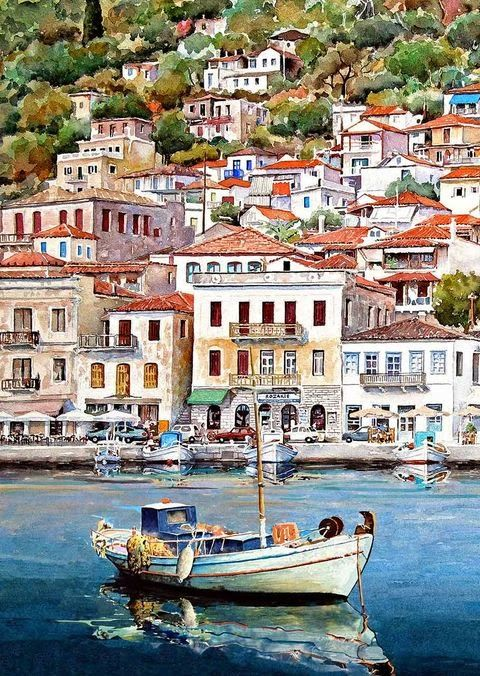 Watercolor Landscapes by Pantelis D. Zografos - Gythio detail