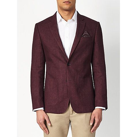 Buy John Lewis Textured Pure Linen Tailored Blazer, Raspberry Online at johnlewis.com £175.00