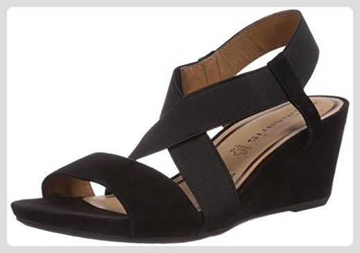 Tamaris 28322, Damen Offene Sandalen mit Keilabsatz, Schwarz (Black 001), 37 EU (4 Damen UK) - Sandalen für frauen (*Partner-Link)