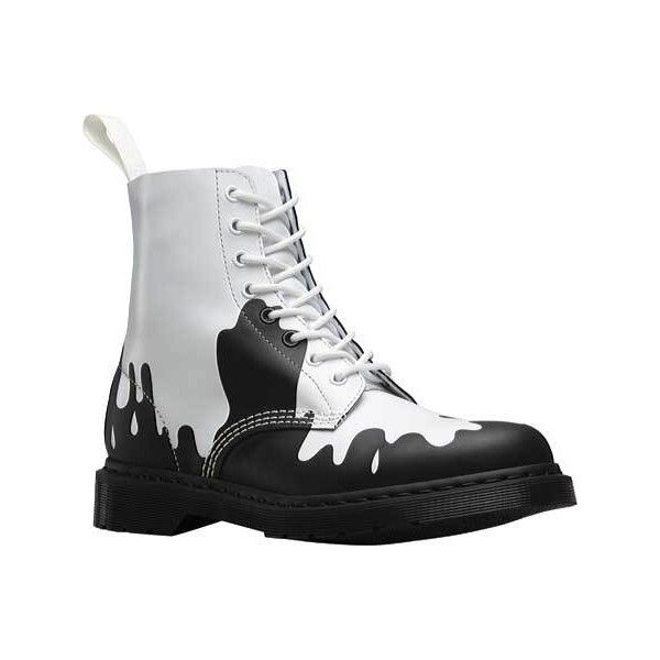 Dr. Martens Paint Splat Pascal 8-Eye Boot - White/Black Paint Splat... ($140) ❤ liked on Polyvore featuring shoes, boots, real leather boots, leather shoes, black white boots, dr martens boots and military boots