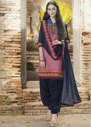 Casual Wear  Cotton Pink Embroidered Work Patiala Suit