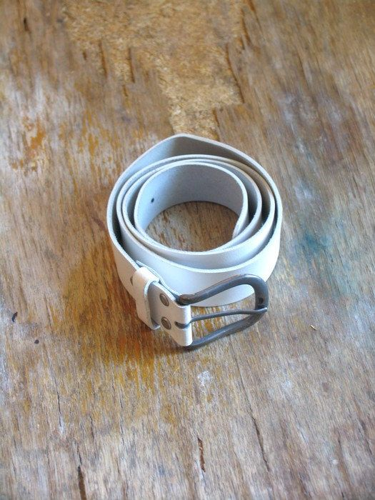 SALE Vintage skinny white belt leather belt spring by artwardrobe, $20.00