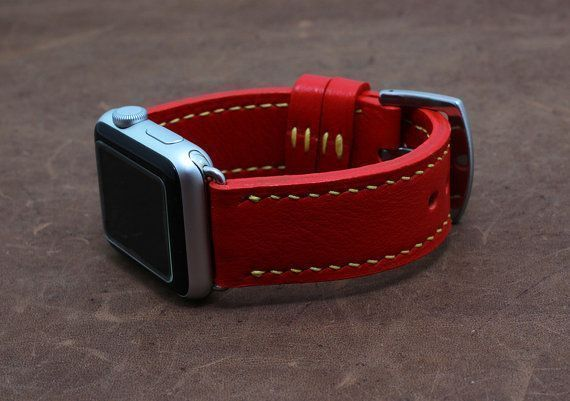 Red Apple watch leather band women