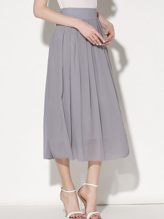 Shop Grey Elastic Waist Chiffon Pleated Skirt online. SheIn offers Grey Elastic Waist Chiffon Pleated Skirt & more to fit your fashionable needs.