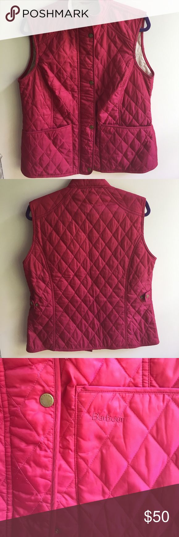 """Barbour Liddesdale Gilet Vest Lightweight, color-contrast, quilted vest with adjustable side tabs to shape the fit. 24"""" length, front two-way zip closure with outer snap placket, front pockets, interior zip pocket, Raspberry pink color. Barbour Jackets & Coats Vests"""