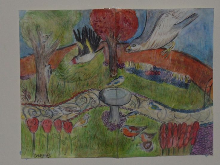 Attack in the bird garden  A erly work from me. Made in july 2014.  It was inspierd by a artical i read on lin about how gold finch is are being hunted by sparow hawks. I was als o inspierd do dibict birds because of my nans loe of birds.