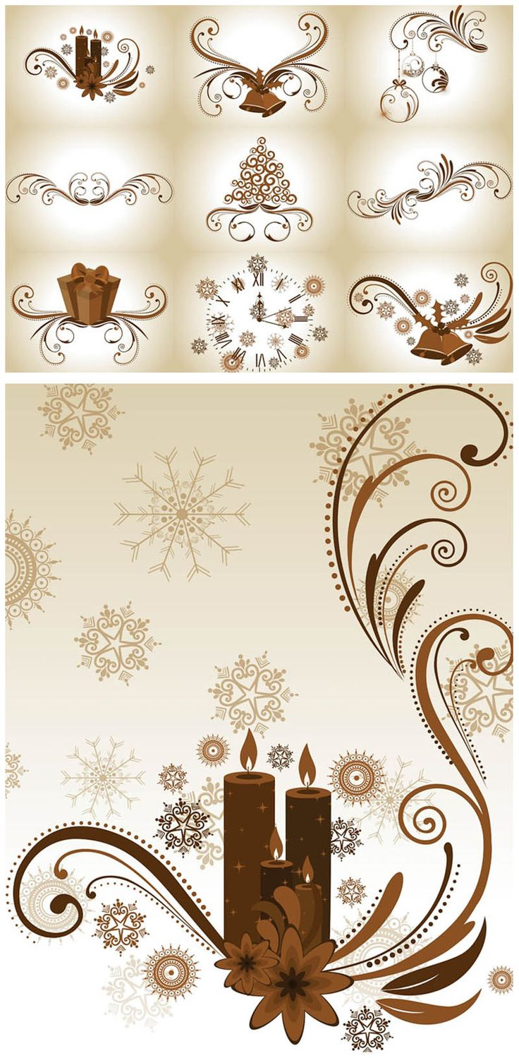 Floral #Christmas design elements #vector