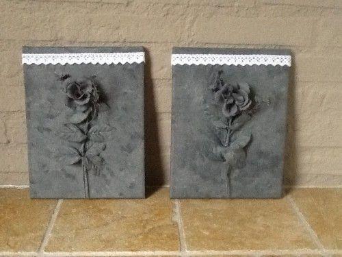 Kunststof bloem op canvas en schilderen met grijze verf voor betonlook effect met kantje weer - Grijze verf ...