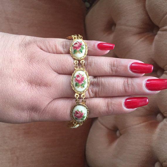 Vintage 1960s petite point bracelet set by CYthinksyoureOK on Etsy