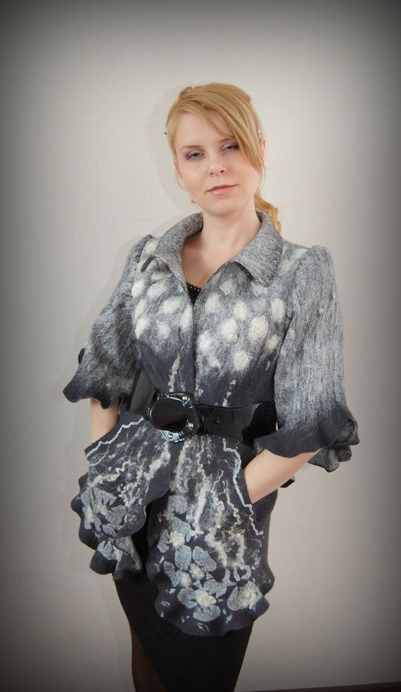 Jacket with the sleeves 3/4 Graphite gem by VictoriaPetryk on Etsy, $330.00