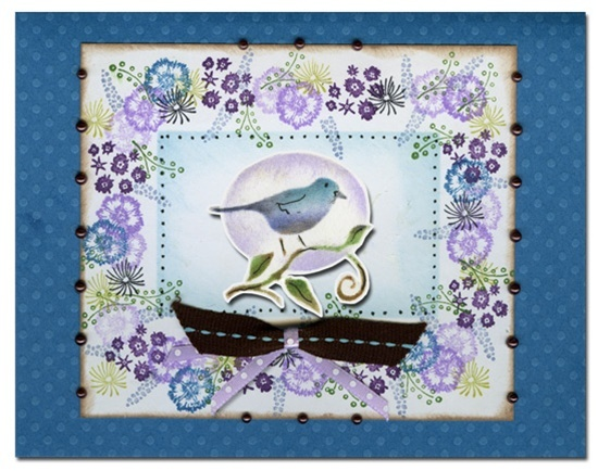 Bluebonnet Bouquet Robin Card   Rubber Stamp Tapestry
