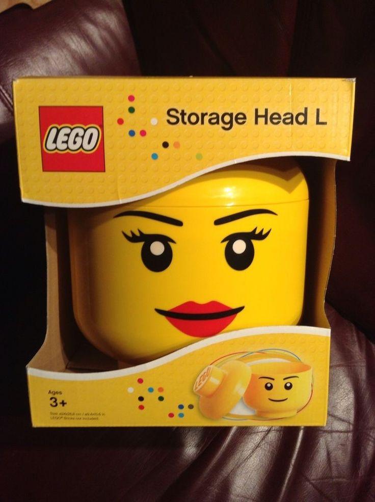 """NIB GENUINE LEGO LARGE YELLOW STORAGE HEAD """"L"""" GIRL CASE 4032 Made in Poland  #LEGO"""