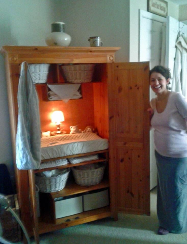 {Transform an old computer hutch into a baby service center!} What an awesome idea! :) FOr all the new moms and preggo friends out there this is a great upcycles idea to pass along!