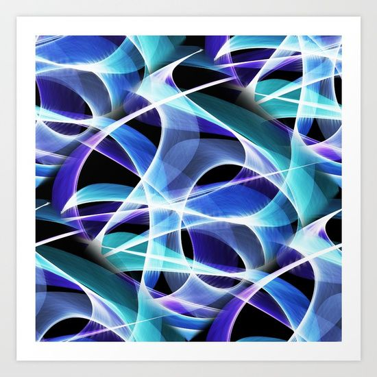 Waves Pattern on Black Art Print by Terrella.  Collect your choice of gallery quality Giclée, or fine art prints custom trimmed by hand in a variety of sizes with a white border for framing.