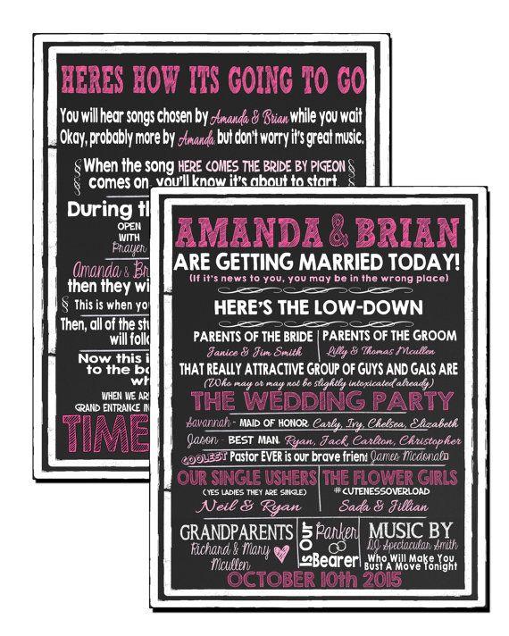 Unique Pink Wedding Programs Funny Modern Signs To Amuse