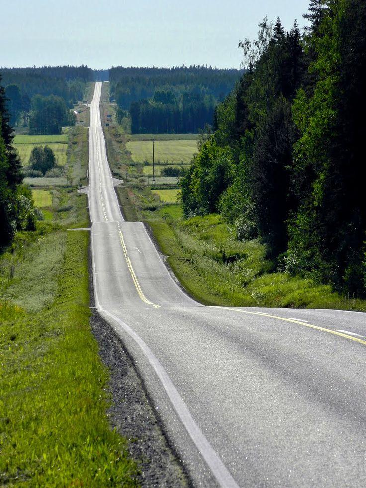Road Lehtimäki. Lehtimäentie, Kuortane, Finland.