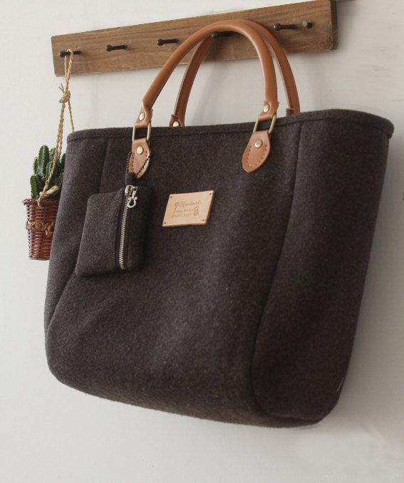 Custom made for A. Felt purse brown bag by burlapdesign on Etsy