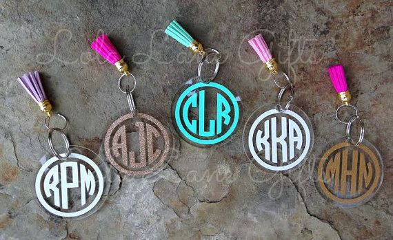 Monogram Key Chain, Circle Monogram Keychain, Personalized Keychain, Monogrammed Keychain, Initial keychain