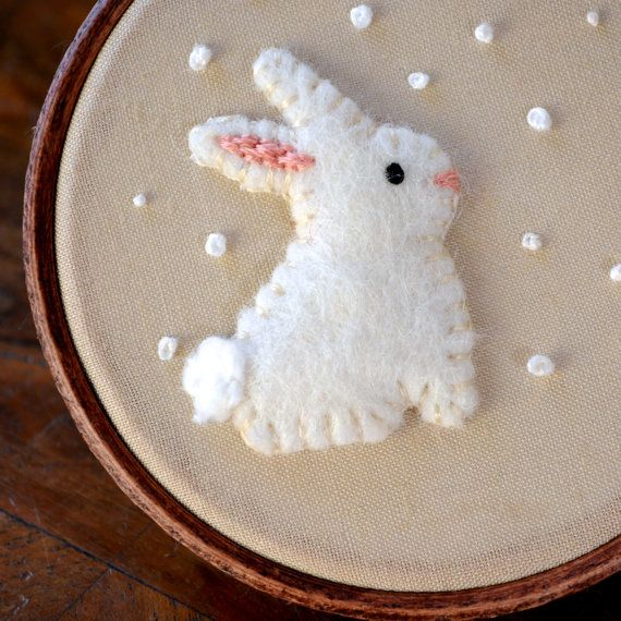 Snowy Rabbit Embroidered Hoop Art / Felt by CottonTaleStudios