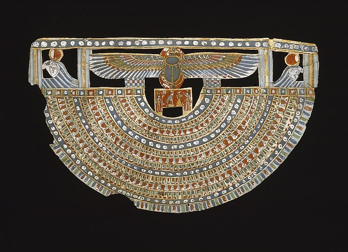Mummy-pectoral. Egyptian, Ptolemaic Period, 332 BC-30 BC  Textile, stucco, paint.