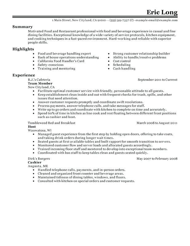 resume examples for restaurant professional food restaurant ...