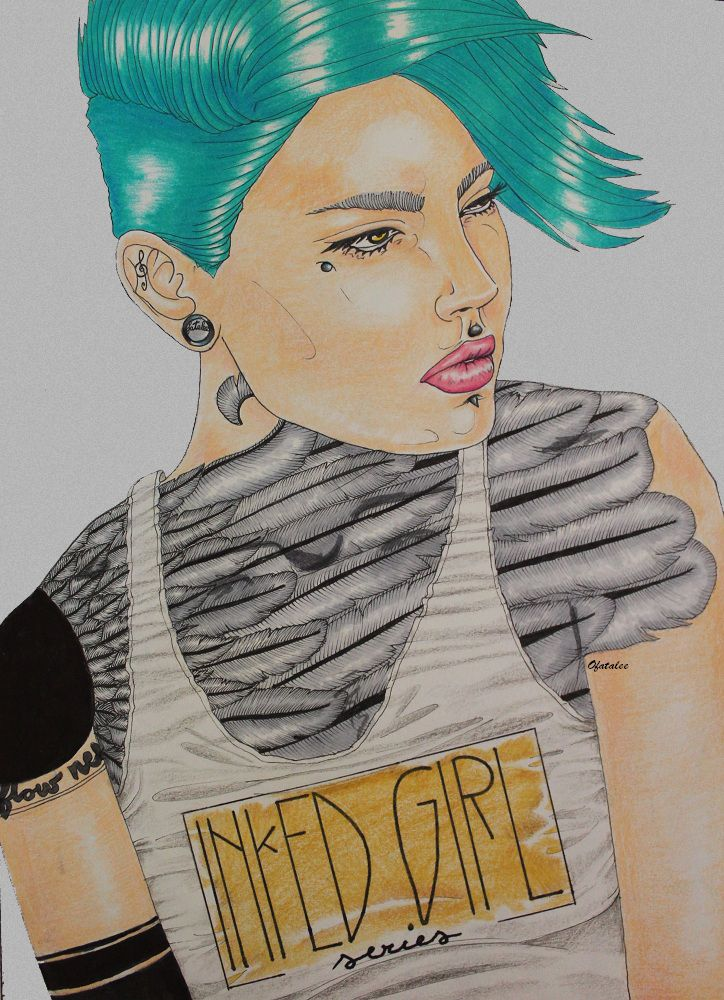 inked girl  tattoo feather hair face tattoo illustration poster