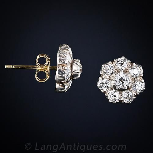 1.40 carats of old mine-cut diamonds join forces to create these eminently wearable, classic diamond cluster earrings