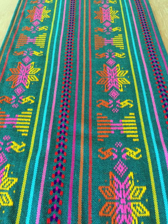 Beautiful Folkloric Mexican embroidered flag green color, with colorful details table runner, napkins or REVERSIBLE placemats available. Great for your next Mexican themed party. Many sizes and styles to choose from! Great quality fabric from Mexico. The side edges are folded over and sewn. The end have fringes for a more traditional look. Care instructions: Hand wash and line dry, for best results.   Additional sizes can be custom ordered, and we offer discounts on multiples, feel free to…