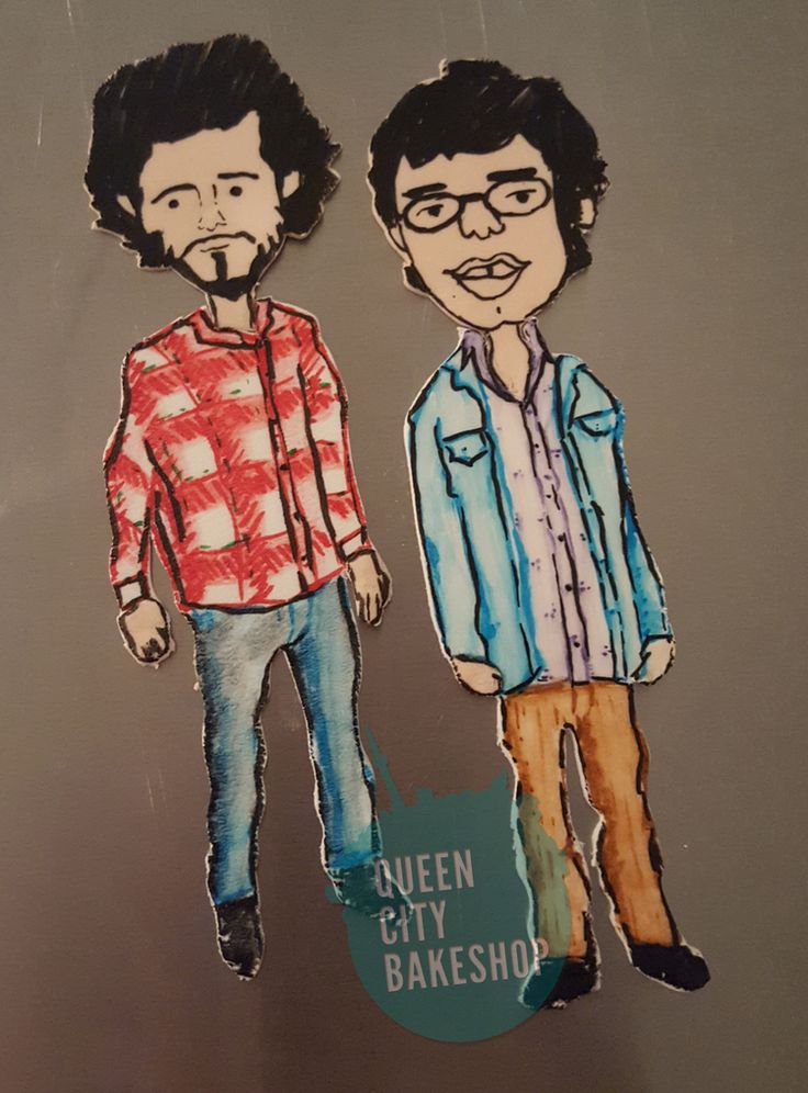 Bret and Jemaine Flight of the Conchords Cake.    I fashioned my two favourite Kiwis out of gumpaste, then drew and painted the details by hand.