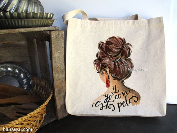 Fashion illustration tote bag, funny quote in spanish tote bag, lady with messy bun illustration tote, shopper bag, reusable bag -  T002