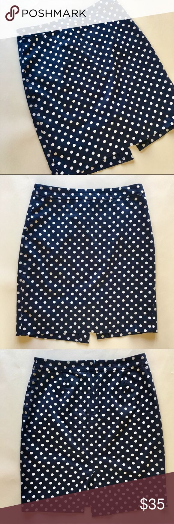 J. Crew Factory Navy Polka Dot Pencil Skirt Adorable navy polka dot pencil skirt from J. Crew Factory. The slight amount of stretch in the fabric makes this pencil skirt super flattering. Dress it up with a silk blouse or down with a chambray button-up.  I bough this skirt from J. Crew Factory in 2012 and have washed and worn it a few times since then. It's still in great shape with no stains/rips/pilling/etc.  98% cotton, 2% spandex Unlined Machine wash, line dry Back zip Sits at waist…