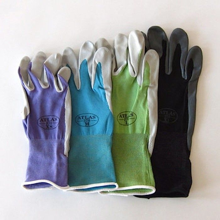 The seamless Atlas Nitrile Gardening Gloves with a breathable knit back; available in four colors and in a range of sizes.  $5.95