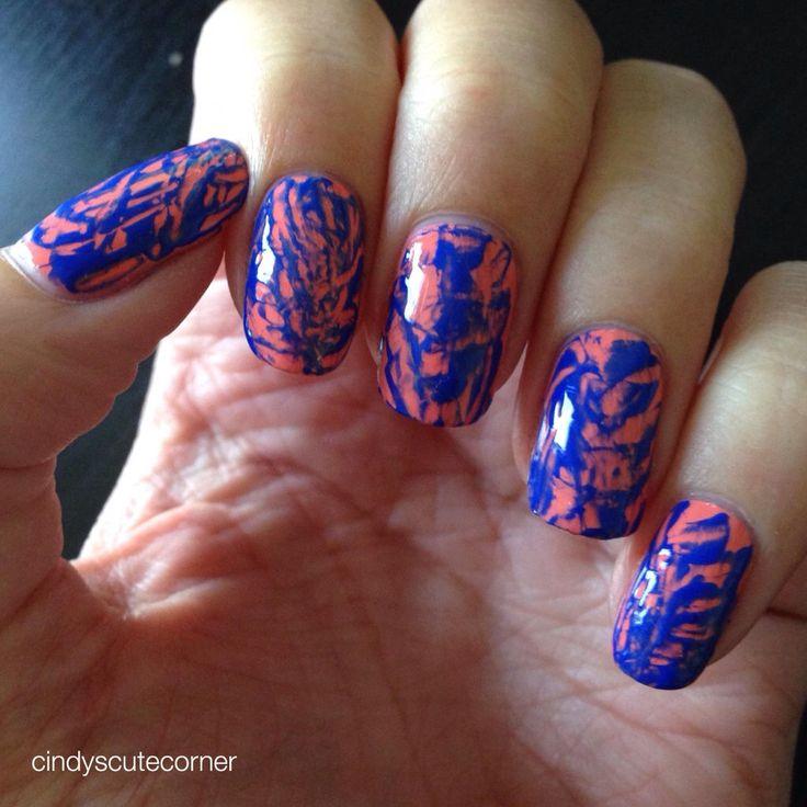 Cobalt and Peach Nails
