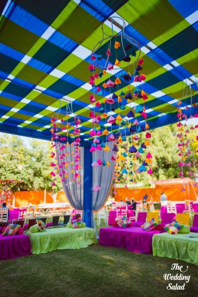 Mehendi Decor - Blue and Purple Hanging Decor | WedMeGood #wedmegood #indianwedding #bridal #hangingdecor #decor #diy