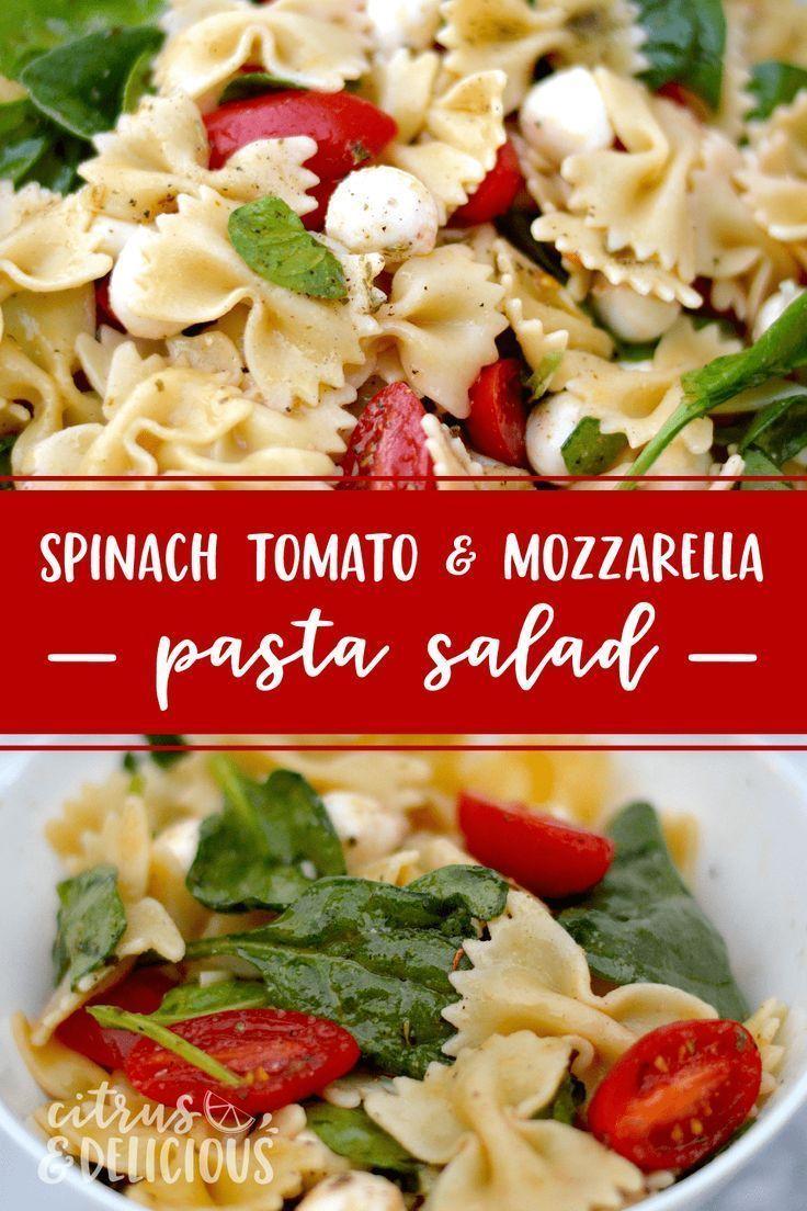 Begrüßen Sie einen frischen Nudelsalat aus Spinat, Tomaten und Mozzarella, ein …   – Salads