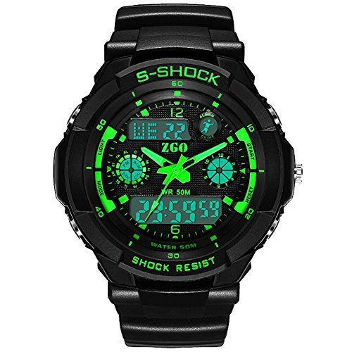 Green High End Big Face Waterproof Sport Boys Digital Watch * Learn more by visiting the image link.