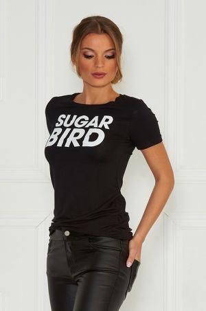 Tričko s nápisom Sugarbird s krátkymm rukávom, okrúhlym výstrihom, ktoré sú vhodné k džínam, legínam na bežný deň.