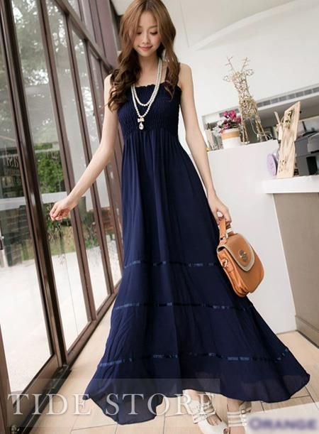 Vogue New Arrival Maxi Lace Korean Style Dress: tidestore.com