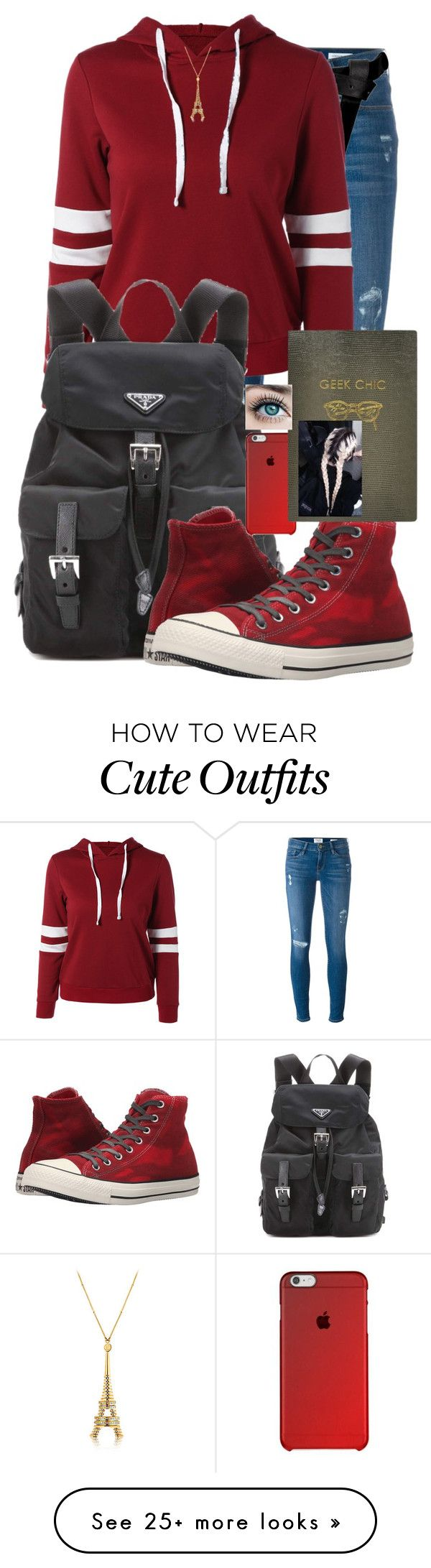 """Sporty,Red, and cute!"" by soccercrazy14 on Polyvore featuring Frame Denim, ASOS, Prada, Converse and Sloane Stationery"