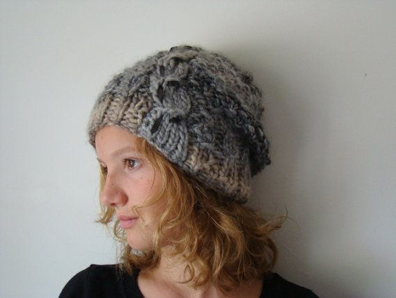 Knitted wool leather cable beanie slouch woman hat by JJePa, $39.00