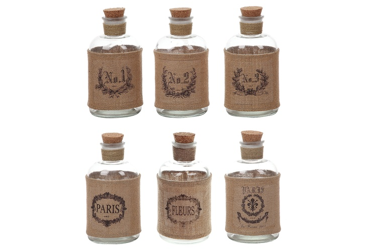 One Kings Lane - Cheerful Accents - Bottles w/ Burlap Wrap, Asst. of 6