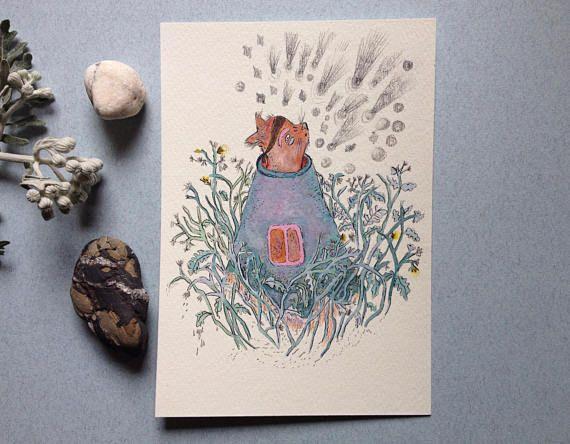 Arte originale illustrazione gatto illustrazione botanica