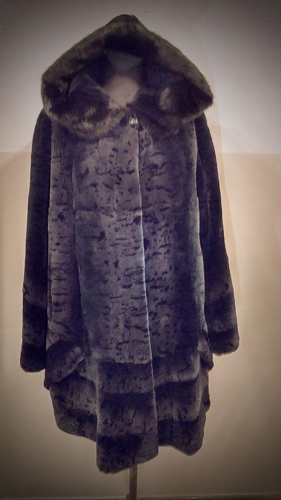 Fur Coat/ Real rex fur with Saga mink hood/ Blue by ReginaFurs