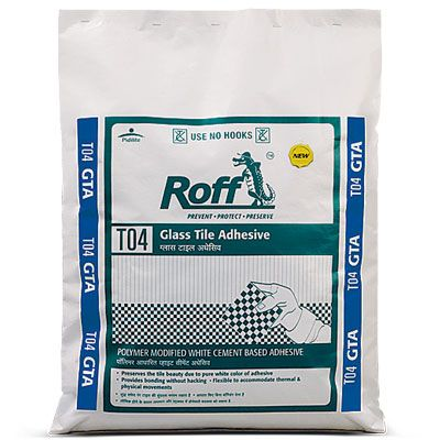 Roff Glass Tile Adhesive is high strength adhesive suitable for fixing marble & glass mosaic in internal as well as external surfaces. http://www.roff.in/2009/files/uploadimages/22_33.jpg