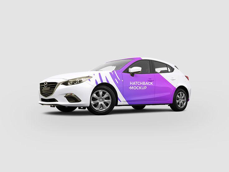 Hatchback car Mockup Free PSD