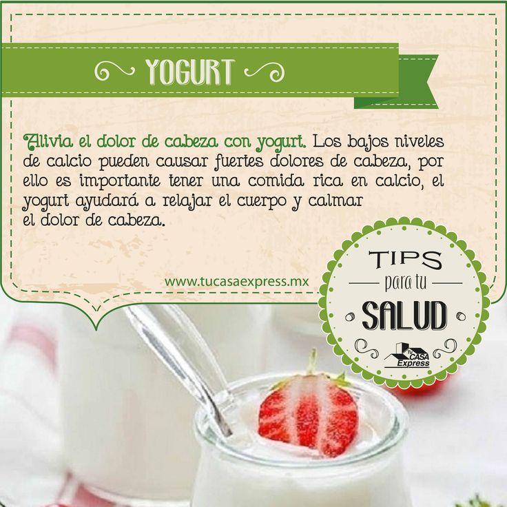 ¿Sabías que, el yogurt te ayuda a aliviar y disminuir el dolor de cabeza? #TipsParaLaSalud