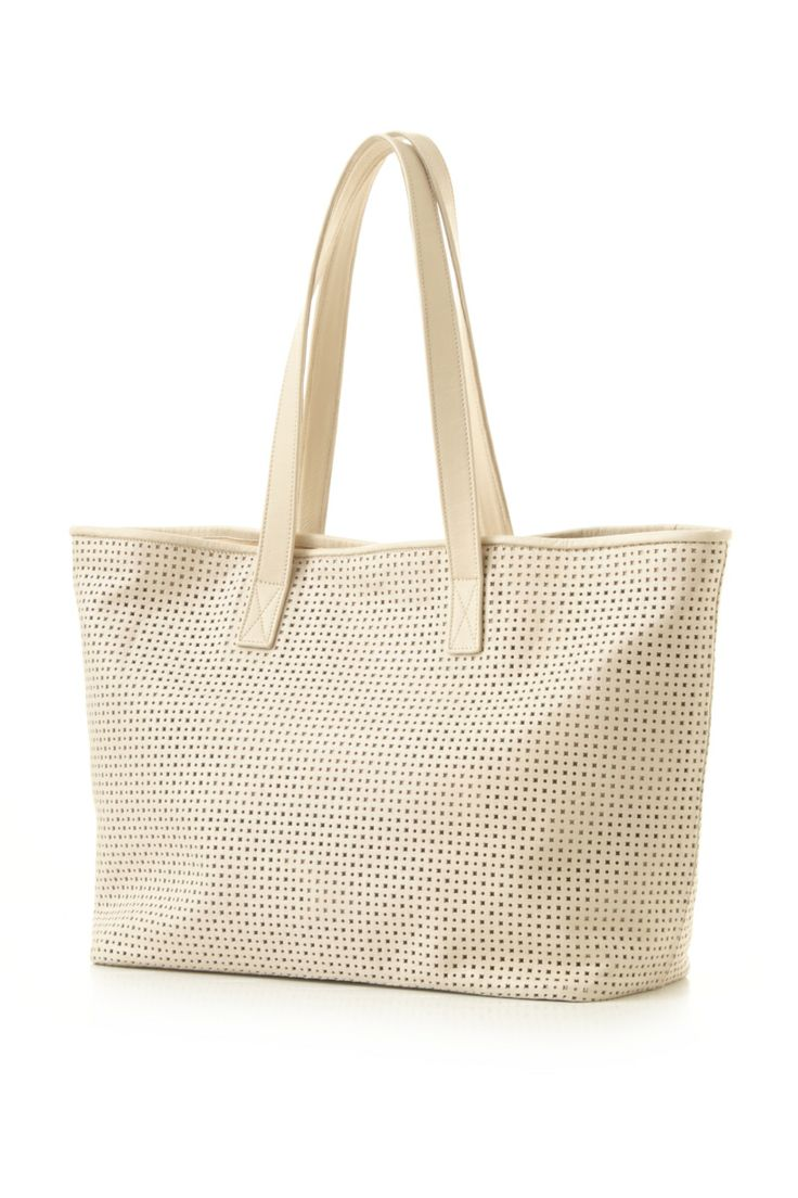 'Isis' Beige Laser Cut Leather Shopping Bag