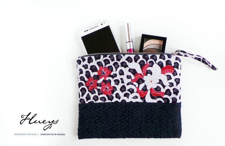 Wristlet, Clutch, Handmade Purse, Pouch, Handmade Bag, Batik handbag, dark blue…