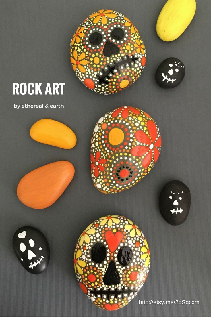Sugar Skull Inspired Rock Art - celebrate Dia De Los Muertos with these Day of the Dead decorations - ethereal & earth - otherworldly & of this world creations!  - $28 with FREE SHIPPING in the USA!