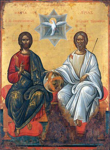 The Holy Trinity. 2nd half of the 16th c. Possibly by Michael Damaskenos. The Antivouniotissa museum, Corfu, Greece. http://www.antivouniotissamuseum.gr/en/tour/west-narthex